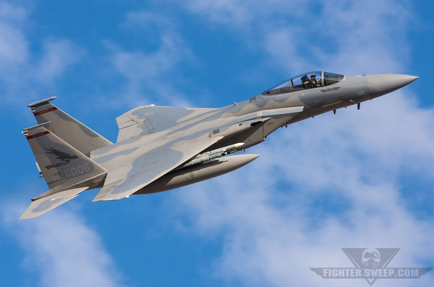 An F-15C from the Oregon ANG's 142FW departs Nellis during a Red Flag mission