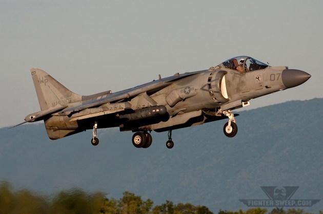 "A Harrier assigned to VMA-223 ""Bulldogs"" departs on an evening flight"
