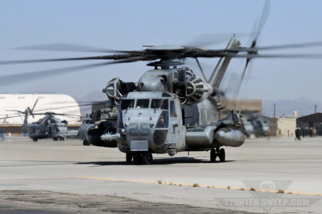 A USMC CH-53E taxis on the ramp at MCAS Yuma, Arizona.