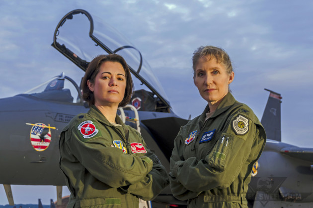 "Lieutenant Colonel Nicole ""FIFI"" Malachowski and Colonel Jeannie ""Tally"" Leavitt, both F-15E Strike Eagle pilots."