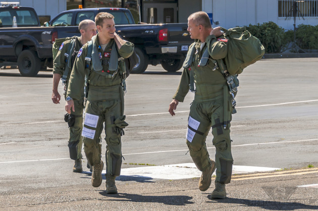 """""""Pound, """"MAC,"""" and another F-15C pilot from the OR ANG's 123 FS step to their jets for a training mission."""