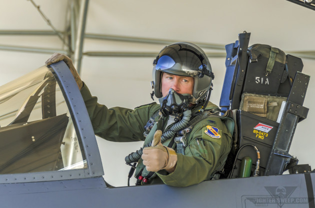 """Moon"" Doherty signals readiness to start the engines on his F-15E Strike Eagle prior to launch for a massive LFE at Seymour Johnson AFB, North Carolina."