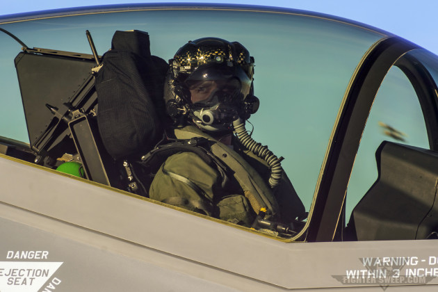 """""""Quatro"""" Carvell, F-35A pilot with the 53 TEG at Nellis AFB, Nevada, taxis out for a test mission."""