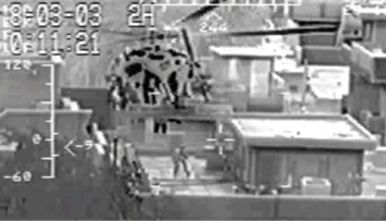HCS-5 targets Fedayeen Saddam with NSW and Polish GROM troops during a night raid in Baghdad. Image taken from squadron wingman's FLIR video.
