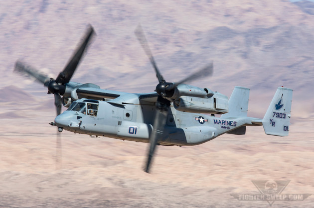 "An MV-22B from VMM-161 ""Greyhawks"" shows off the Osprey's ability to fly like a fixed-wing aircraft"