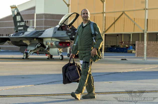 "Lieutenant Colonel Cameron ""Glover"" Dadgar steps to his aircraft prior to a training mission during Red Flag."
