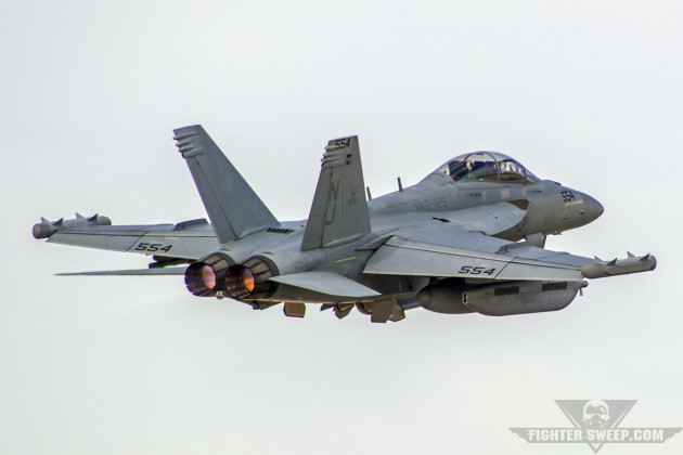 A Boeing EA-18G Growler from VAQ-129 Vikings gets airborne from Nellis AFB, Nevada during Red Flag 15-1.