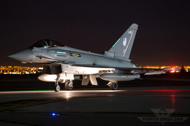 An RAF Typhoon ready to take the runway for a night mission during Red Flag