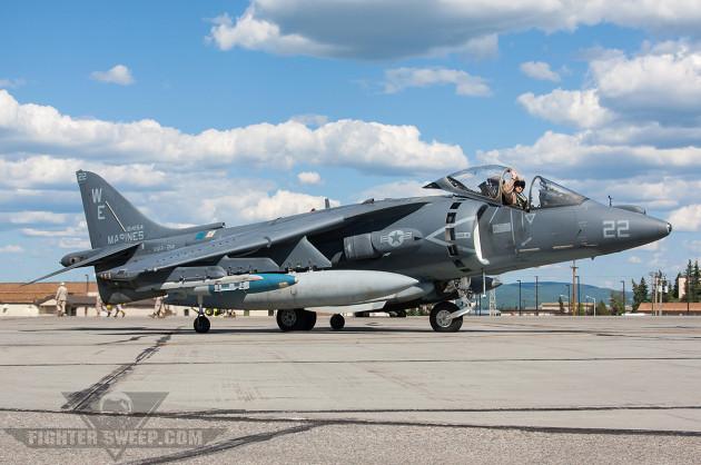 A USMC AV-8B Harrier jump-jet taxis at Eielson Air Force Base near Fairbanks while taking part in Red Flag-Alaska. (Photo by Jason Hyatt)