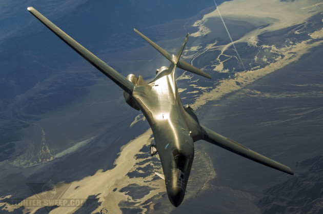 A Boeing B-1B from the 28 BW at Ellsworth AFB, South Dakota drops off the tanker and returns to the fight.