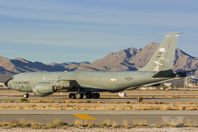A Boeing KC-135 Stratotanker prepares to take that active at Nellis Air Force Base, Nevada in support of Red Flag 15-1.