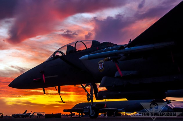 """The 391 FS """"Bold Tigers"""" flagship sits on the ramp at Mather Airport during the California Capital Airshow."""