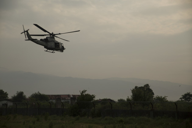 A UH-1Y Huey helicopter takes off for a search and rescue mission from the Tribhuvan International Airport in Kathmandu, Nepal, May 13. A UH-1Y Huey assigned to Marine Light Attack Helicopter Squadron 469, carrying six Marines and two Nepalese soldiers, went missing while conducting humanitarian assistance after a 7.3 magnitude earthquake May 12. HMLA-469, currently part of Joint Task Force 505 participating in operation Sahayogi Haat, responded in support of the government of Nepal after the 7.8 magnitude earthquake struck the country April 25. (U.S. Marine Corps Photo by Cpl. Thor J. Larson/Released)