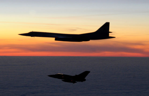 "An RAF Tornado F3 intercepts a Russian Tupolev Tu_160 ""Blackjack"" supersonic strategic bomber as it nears British airspace in 2010."