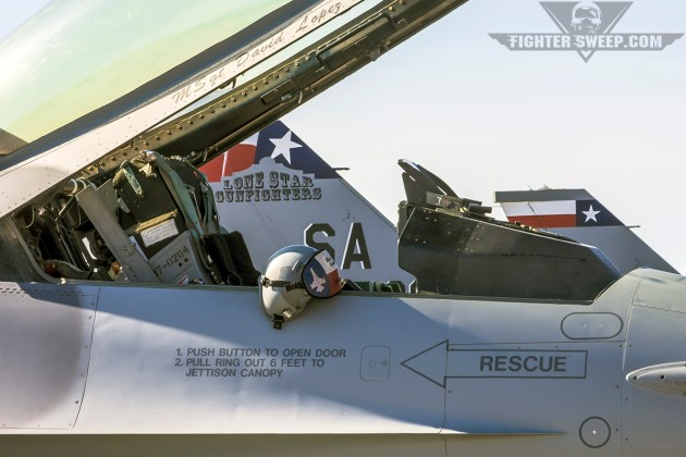 A helmet sits on the cockpit rail of a Lonestar Gunfighters F-16C, awaiting the morning step. (Photo by Scott Wolff)