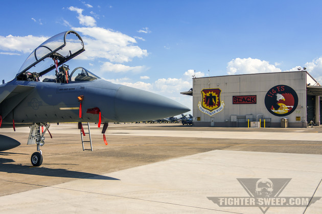 A McDonnell Douglas (Boeing) F-15D Eagle sits ready on the ramp at Kingsley Field in Klamath Falls, Oregon.