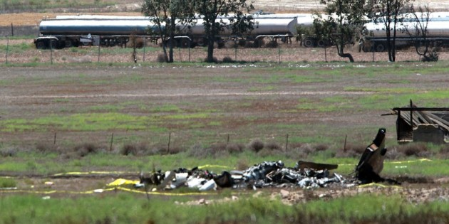 The wreckage of a Cessna 172 involved in a mid-air collision with a North American Sabreliner. Five people died in the incident.