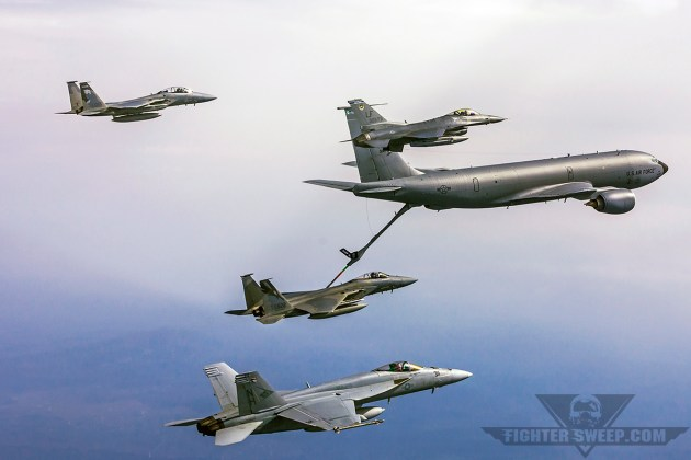 THe benchmarks of American airpower, all in one photo: the F-15C, F-16C, and F/A-18E. (Photo by Scott Wolff)
