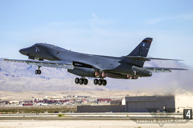 A Boeing B-1B Lancer takes off from Nellis Air Force Base during Green Flag-West in late 2014.