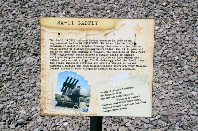 The information placard on the SA-11 at Nellis Air Force Base's Threat Training Center.