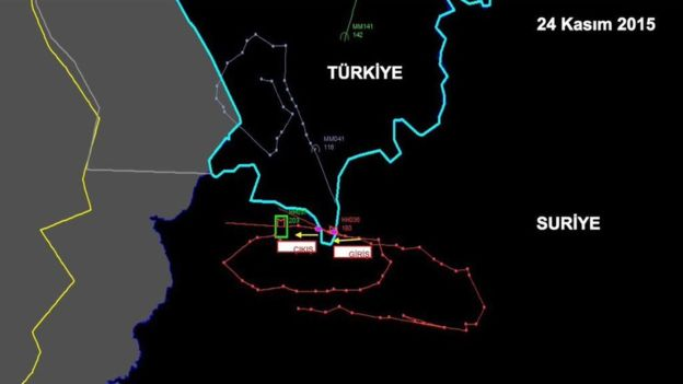 The flight path at the bottom shows where the pair of Russian Su-24M2 fighters crossed into Turkey briefly. (Courtesy of AP/Reuters)