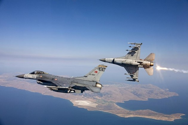 Turkish Air Force F-16C Fighting Falcons, seen here, engaged the Russian Su-24M2 as it violated their country's airspace. (Photo courtesy of Turkish Air Force)