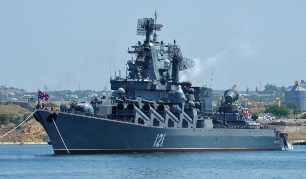 """The Russian Navy's newest cruiser, equipped with the SA-N-20 """"Gargoyle,"""" is patrolling the waters of of Syria's Mediterranean shore. (AP/Reuters)"""