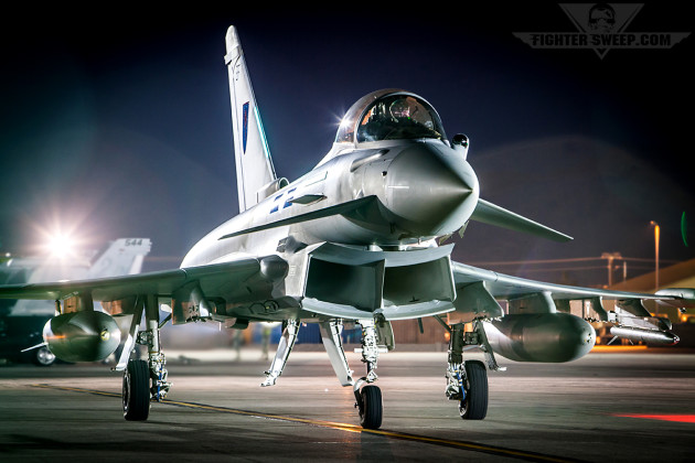 An RAF Eurofighter Typhoon taxis at Nellis during Red Flag Period 15-1. (Photo by Jonathan Derden)