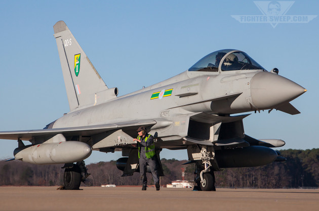 An RAF Typhoon prepares to launch from JBLE during the Trilateral exercise (photo by Jonathan Derden)