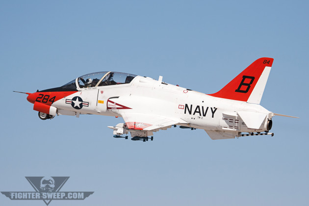A McDonnell Douglas/British Aerospace T-45C Goshawk departs NAF El Centro, California. (Photo by Jason Hyatt)