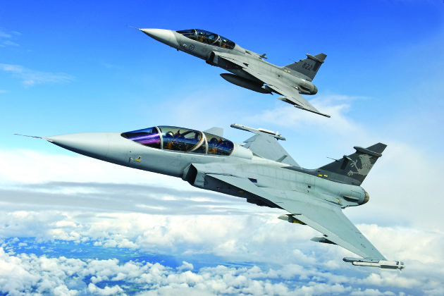 "Saab JAS-39 ""Gripen"" strike fighters are rumored to be under consideration to replace the Finnish Air Force's aging fleet of Boeing F/A-18C/Ds. (Photo courtesy of Saab)"