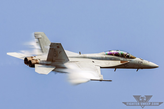 "A Boeing F/A-18F Super Hornet from the ""Gladiators"" of VFA-106 performs a TacDemo for a crowd in Ocean City, Maryland. VFA-106 is the U.S. Navy's East Coast Super Hornet FRS. (Photo by Scott Wolff)"