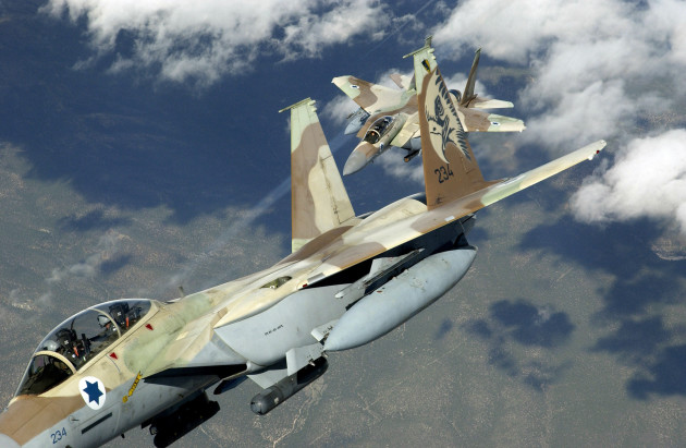 Two Israeli Defense Force-Air Force F-15D Eagle aircraft practice air defense maneuvers mission over the Nevada Test and Training Ranges, at Nellis Air Force Base (AFB), Nevada (NV), during Exercise RED FLAG 04-3. Exercise RED FLAG is a realistic combat training exercise involving the Air Forces of the US and its Allies.