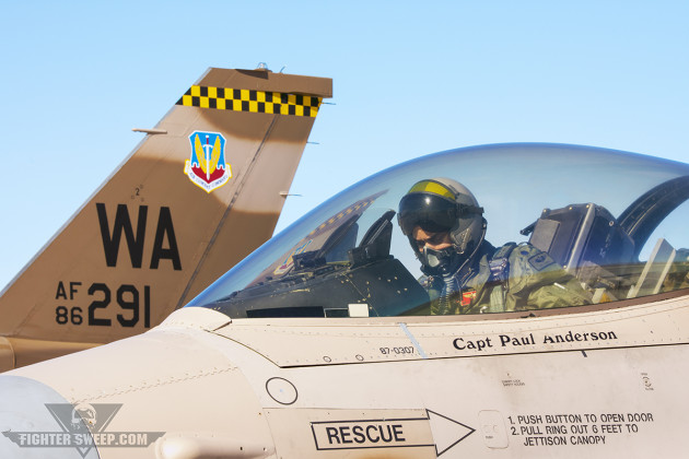 """""""Shado"""" runs through his pre-flight checks prior to launching for a Red Flag mission with the 64 AGRS. (Photo by Scott E. Wolff)"""