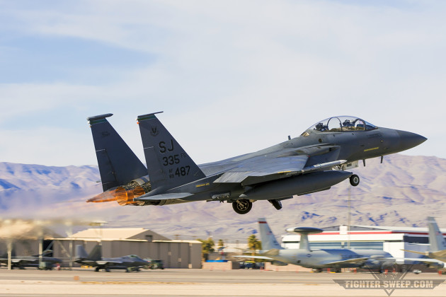 487 gets airborne at Nellis Air Force Base, Nevada during Red Flag 16-1. (Photo by Scott Wolff)