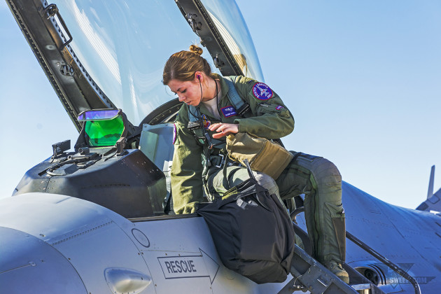 """""""VITA,"""" like other female pilots in today's Air Force, can all trace the heritage of their ability to fly and serve to the WASPs. (Photo by Scott Wolff)"""
