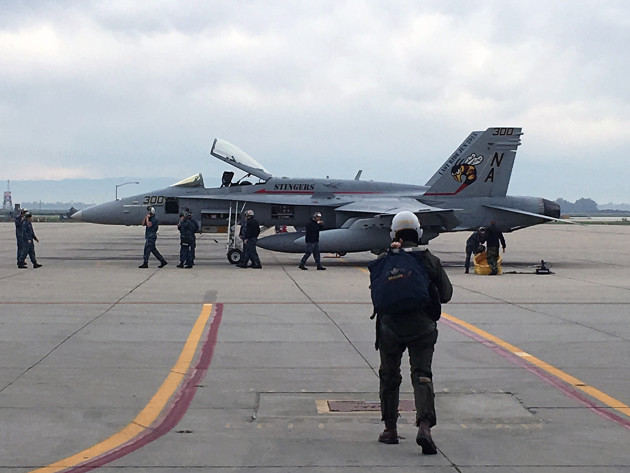 """Dragon"" walks out for the very last F/A-18C Hornet flight from NAS Lemoore, California. (Photo courtesy of author)"