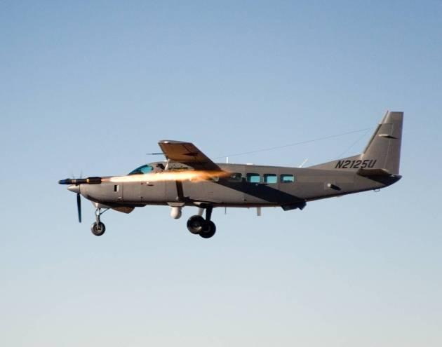 "A Cessna AC-208B ""Combat Caravan"" fires an AGM-114 Hellfire missile. (Photo courtesy of prteamwork.com)"