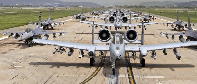 "A-10 Thunderbolt II and F-16 Fighting Falcon fighter aircraft perform an 'Elephant Walk' on the runway this week during Exercise Beverly Herd 16-01 at Osan Air Base, Republic of Korea. The Elephant Walk was a demonstration of U.S. Air Force capabilities and strength and showcases the wing's ability to generate combat airpower in an expedient manner in order to respond to simulated contingency operations. The A-10 Thunderbolt II aircraft are the 25th Fighter Squadron ""Draggins"" and the F-16 Fighting Falcon aircraft are the 36th Fighter Squadron ""Friends"" from the 51st Fighter Wing, Osan AB, ROK; the additional F-16 aircraft are the 179th Fighter Squadron ""Bulldogs"" from the 148th Fighter Wing out of Duluth Air National Guard Base, Minnesota. (U.S. Air Force photo by Tech. Sgt. Travis Edwards/Released)"