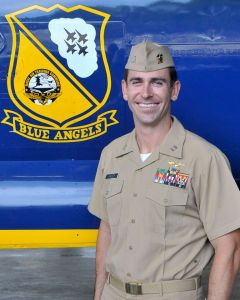 "Navy Lt. Damon Kroes, 34, of Fremont, California, is an F/A-18 Hornet Instructor Pilot currently assigned to Marine Fighter Attack Training Squadron 101 (VMFAT-101), the ""Sharpshooters,"" at Marine Corps Air Station Miramar, California. He is a 2006 graduate of San Diego State University, San Diego."
