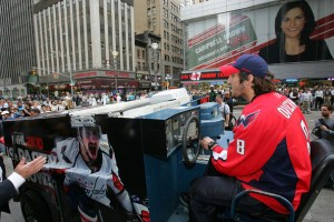 Alex Ovechkin drives a Zamboni thru Midtown Manhattan (credit: Washington Capitals)