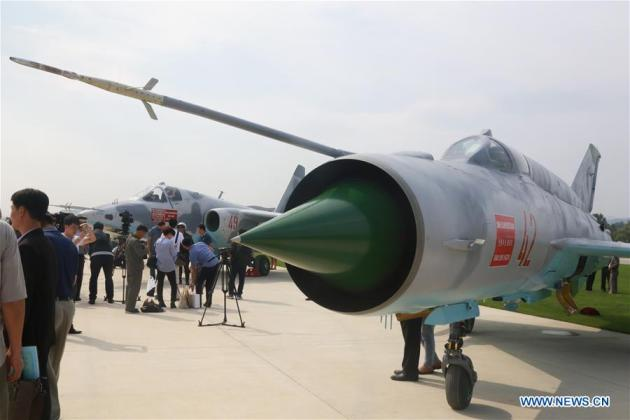 A Mig-21 aircraft is displayed during an international air show in Wonsan, the Democratic People's Republic of Korea (DPRK), on Sept. 25, 2016, the second day of the international air show. The Wonsan International Friendship Air Festival, the first of its kind in the DPRK, runs from Saturday through Sunday at Kalma International Airport, which was redesigned and reconstructed from a military airfield to promote tourism. (Xinhua/Lu Rui)