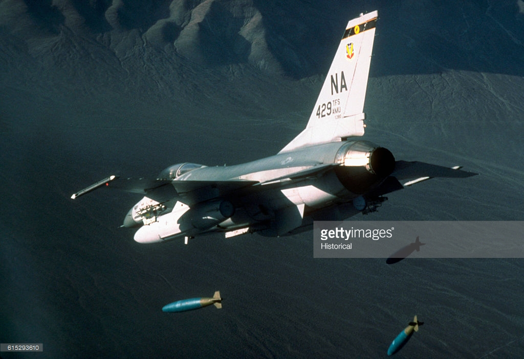 A nose-low weapons delivery. Imagine this at night, and far lower. Courtesy Getty Images