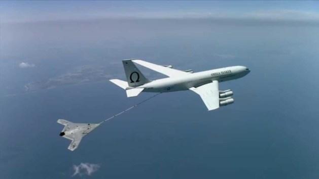 US Navy X-47B drone refuels