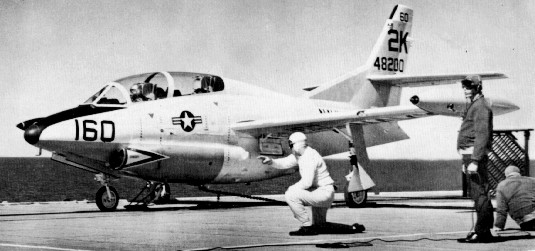 T-2A_on_USS_Antietam_catapult_c1961