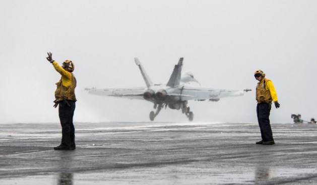 GHWB is the flagship of Carrier Strike Group (CSG) 2, which is comprised of the staff of CSG-2; GHWB; the nine squadrons and staff of Carrier Air Wing (CVW) 8; Destroyer Squadron (DESRON) 22 staff and guided-missile destroyers USS Laboon (DDG 58) and USS Truxton (DDG 103); and Mayport-based guided-missile cruisers USS Philipine Sea (CG 58) and USS Hue City (CG 66).