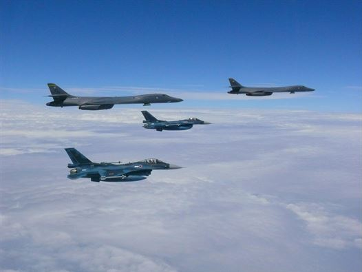 Air Force B-1B Lancers assigned to the 37th Expeditionary Bomb Squadron