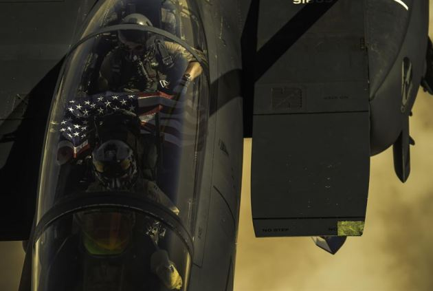 F-15E Strike Eagle receives fuel from a KC-135 Stratotanker during a mission over Iraq in support of Operation Inherent Resolve