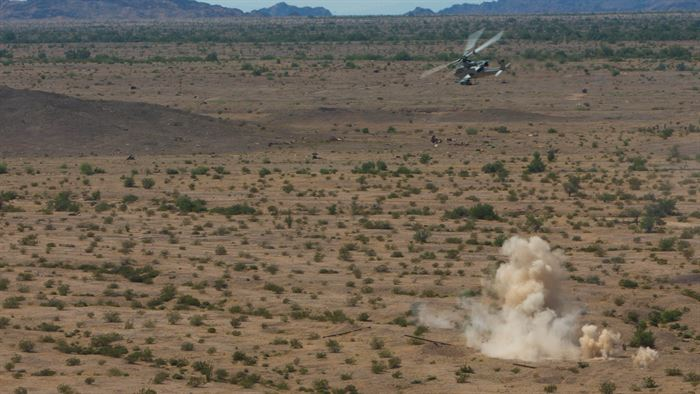 U.S. Marine Corps AH-1Z Viper engages a target