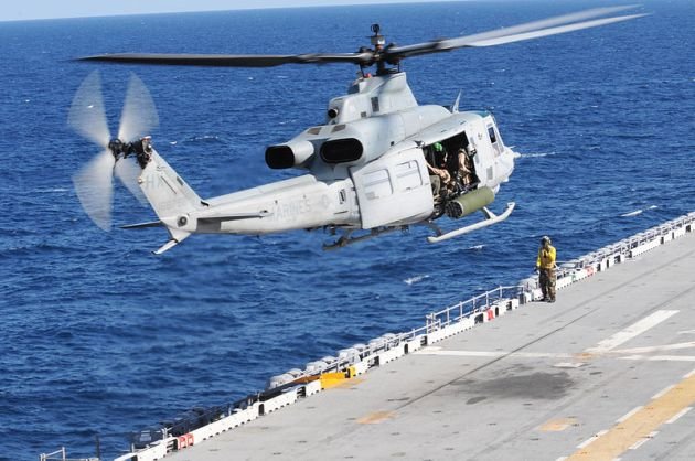 UH-1Y Huey helicopter takes off from the amphibious assault ship USS Wasp (LHD 1)